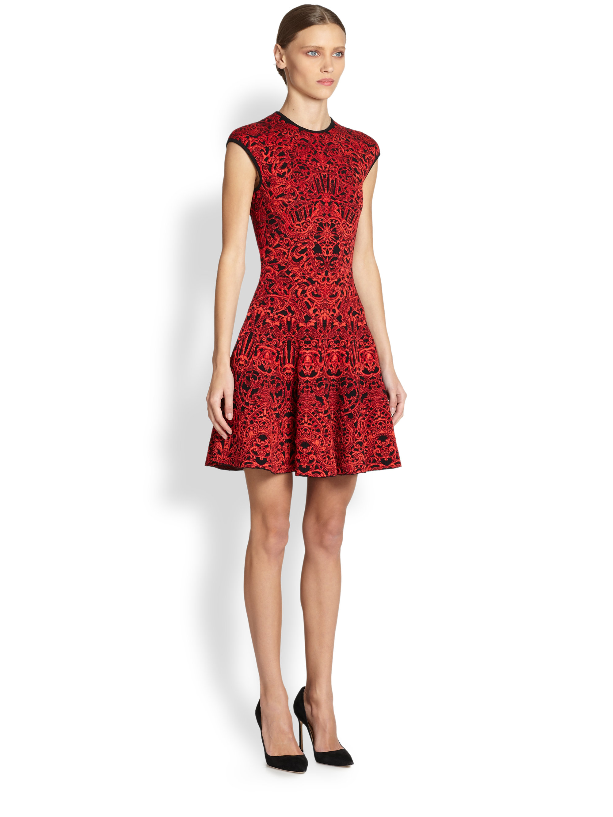 Lyst Alexander Mcqueen Jacquard Fitandflare Dress In Red