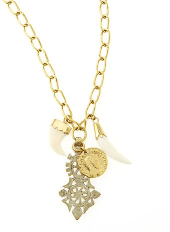 Ashley Pittman Horntuskcrosscoin Charm Necklace 35l - Lyst