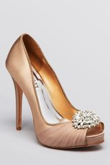 Badgley Mischka Peep Toe Evening Pumps Pedal High Heel - Lyst