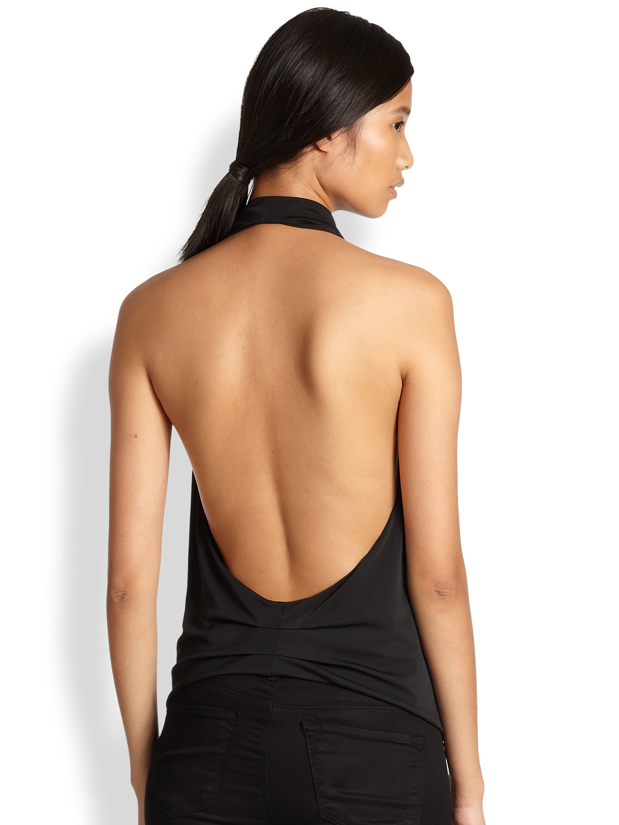 Bcbgmaxazria Lowback Halter Top in Black | Lyst