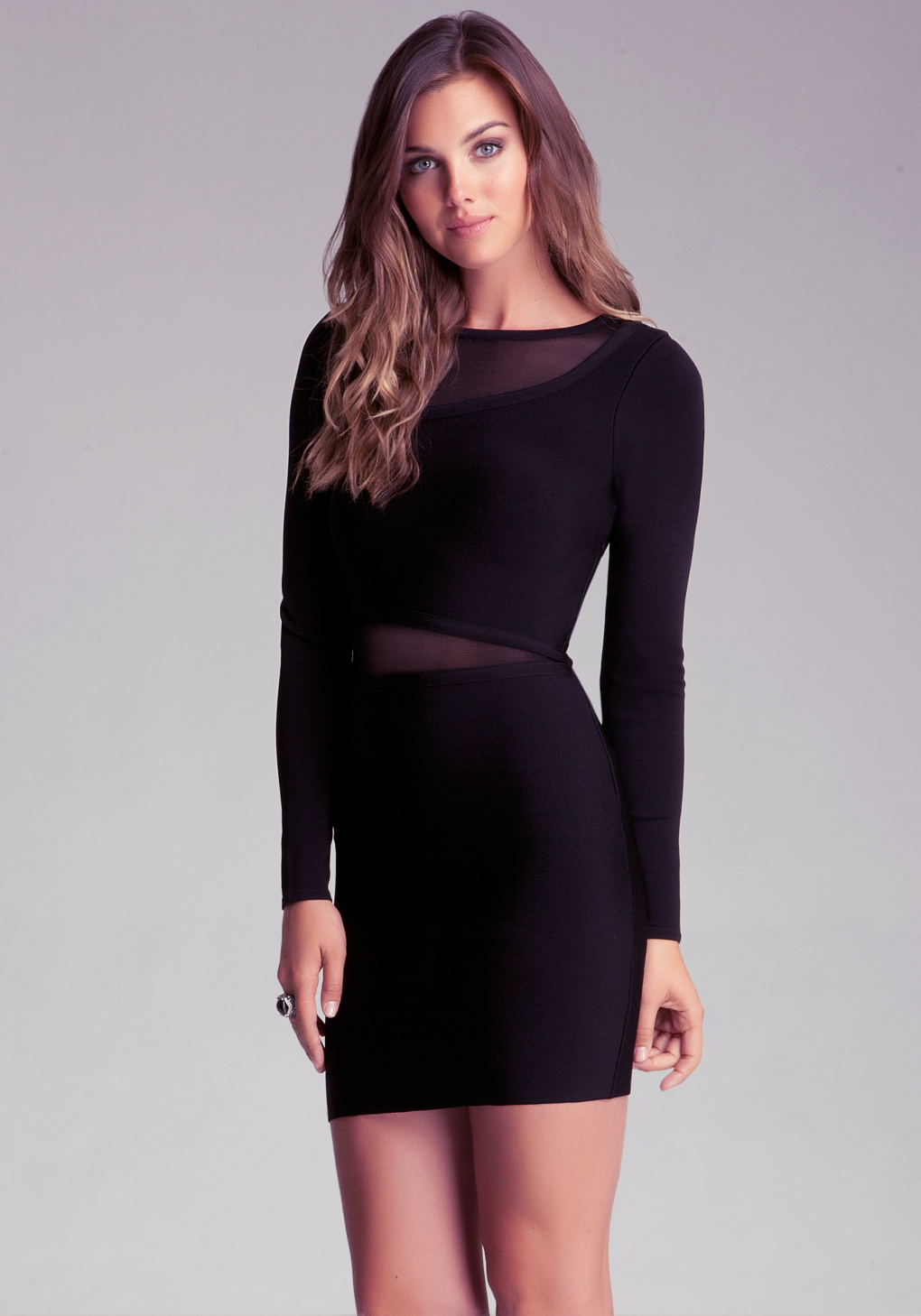 Lyst Bebe Sheer Inset Dress In Black