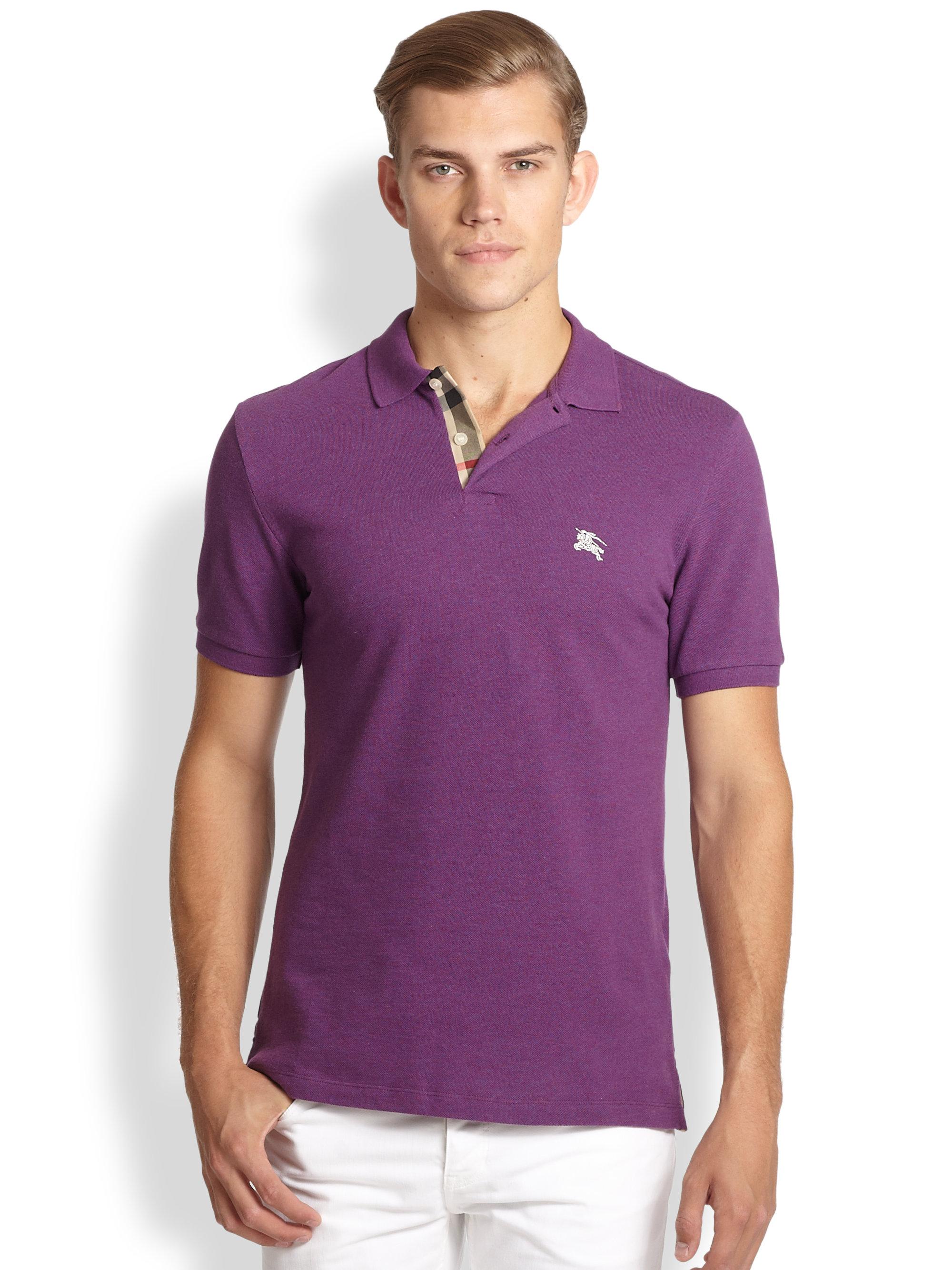 Lyst - Burberry Brit Classic Pique Polo in Purple for Men 0e29574ea7f