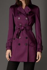 Burberry Midlength Cotton Sateen Trench Coat - Lyst