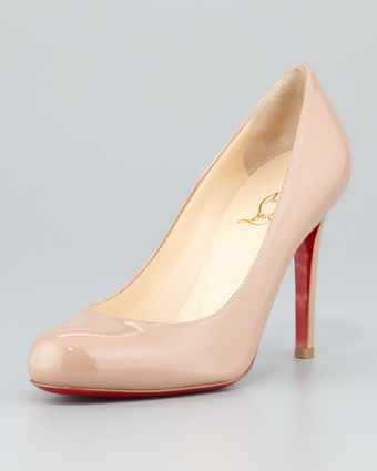 Christian Louboutin Simple Patent Red Sole Pump Nude - Lyst