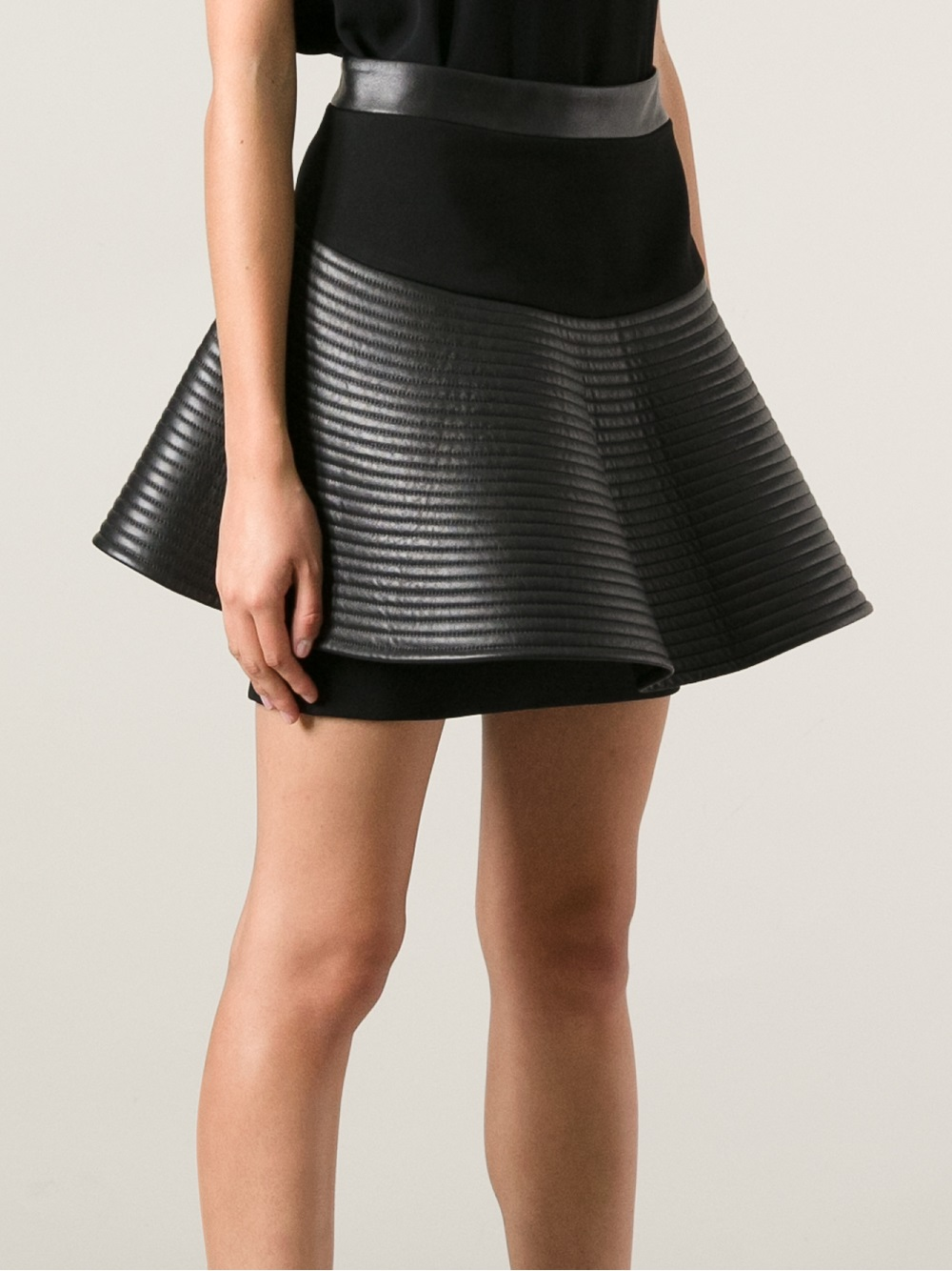 David koma Flared Leather Skirt in Black | Lyst