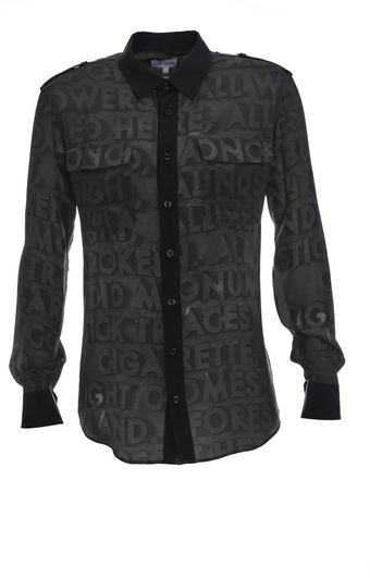 Each X Other Black Robert Montgomery Print Silk Shirt - Lyst
