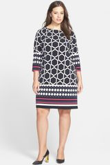 Eliza J Border Print Jersey Shift Dress - Lyst
