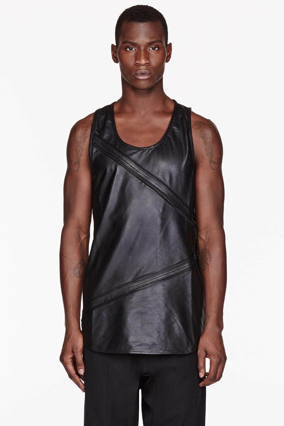 En Noir Black Leather Pin Tuck Tank Top In Black For Men
