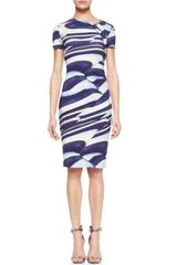 Escada Printed Knotneck Dress - Lyst