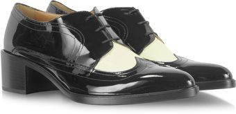 Fratelli Rossetti Balck Patent Leather and Ivory Calf Leather Derby Shoe - Lyst