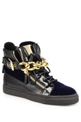 Giuseppe Zanotti Patent and Velvet Hightop Sneakers - Lyst