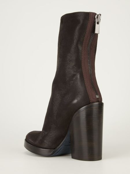 haider ackermann vintage leather chunky heel boot in brown
