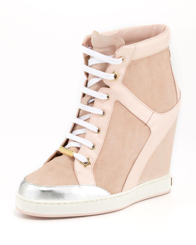 Lyst - Jimmy Choo Panama Suedepatent Wedge Sneaker Light ...