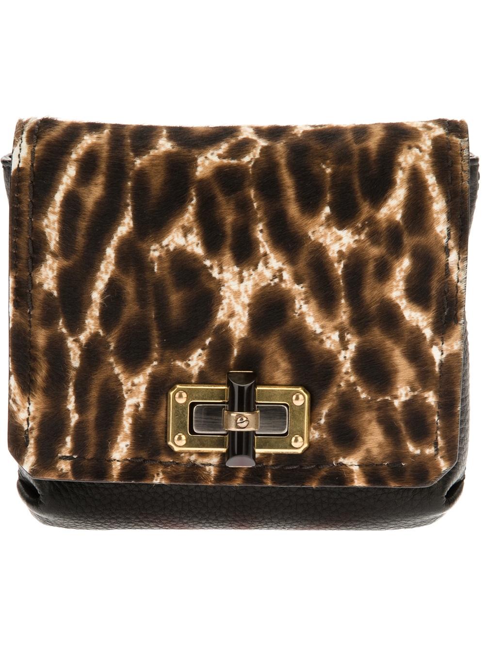 b5db25ffbe692e Lanvin Leopard Print Crossbody Bag in Brown - Lyst