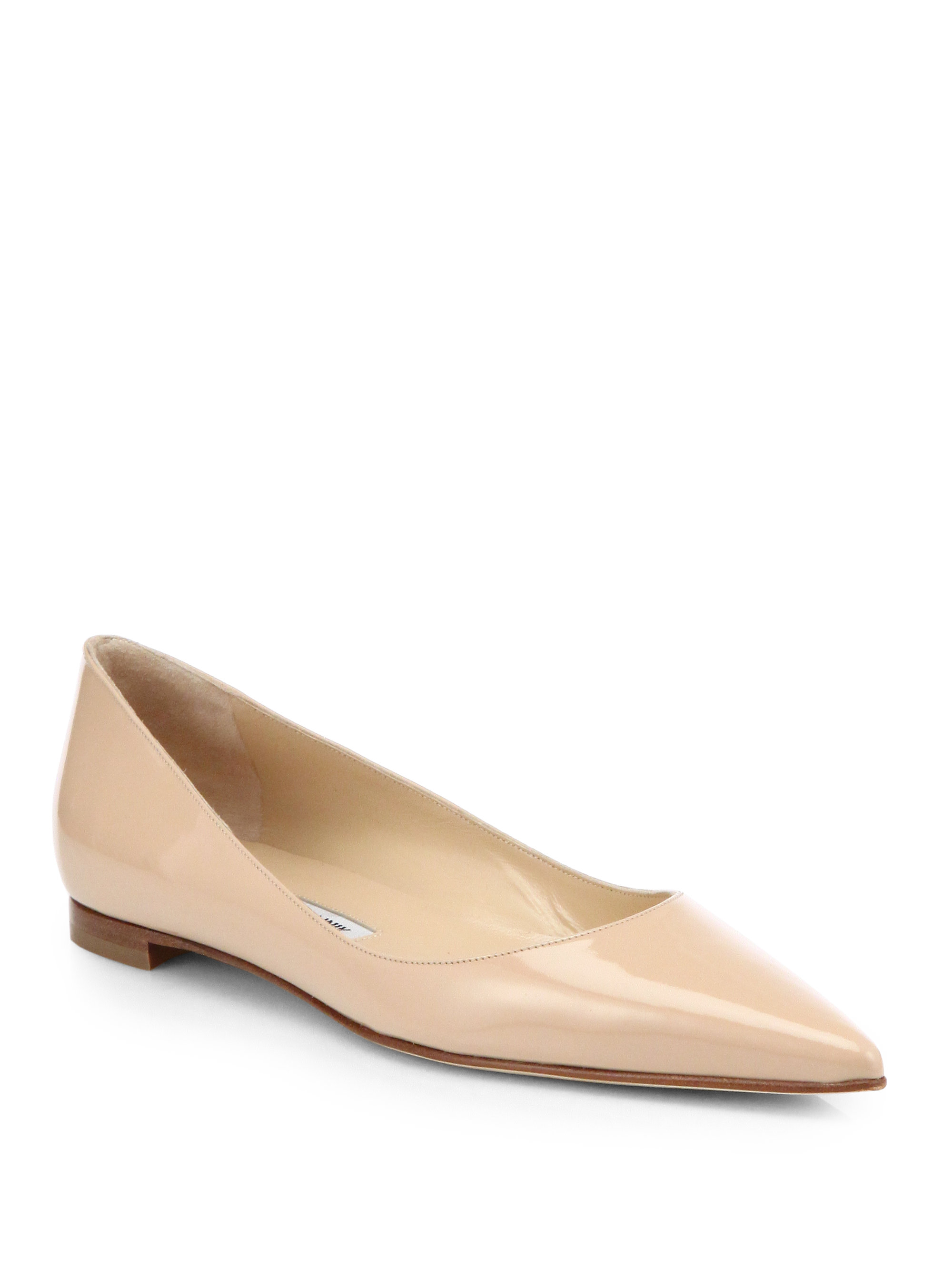 lyst manolo blahnik bb patent leather ballet flats in natural rh lyst com