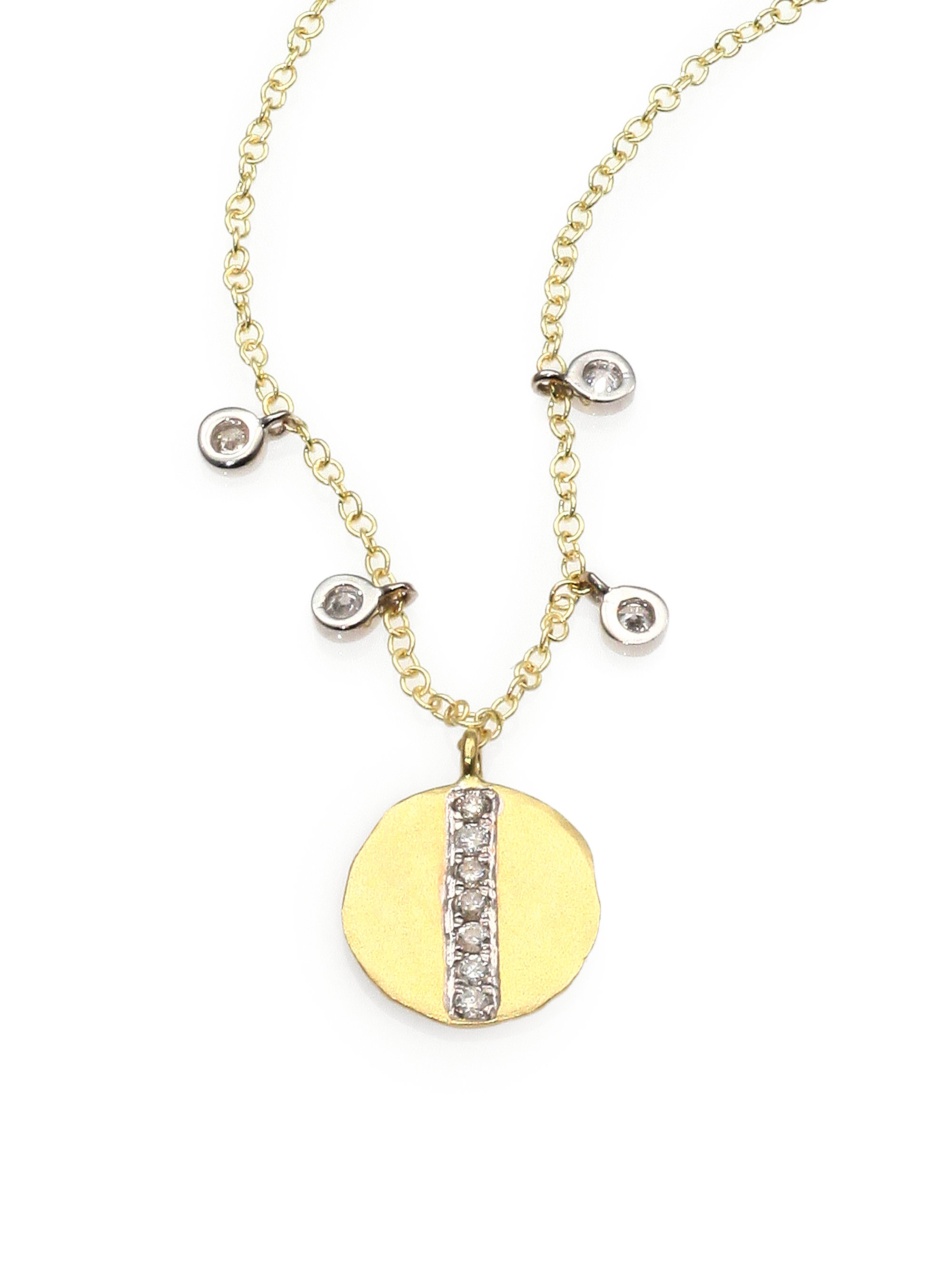 Lyst Meira T Diamond 14k Gold Disc Pendant Necklace In
