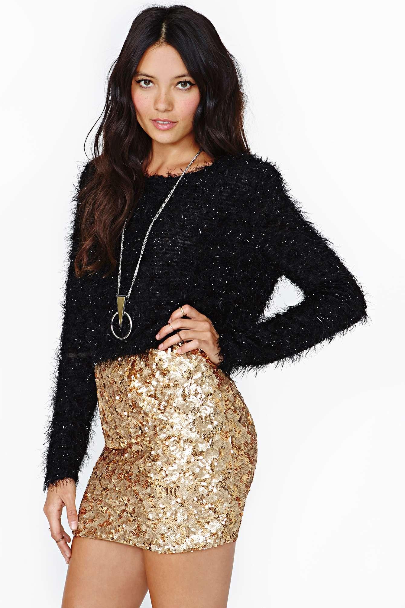 4211692318 Nasty Gal Rare London Gold Crush Sequin Skirt in Metallic - Lyst