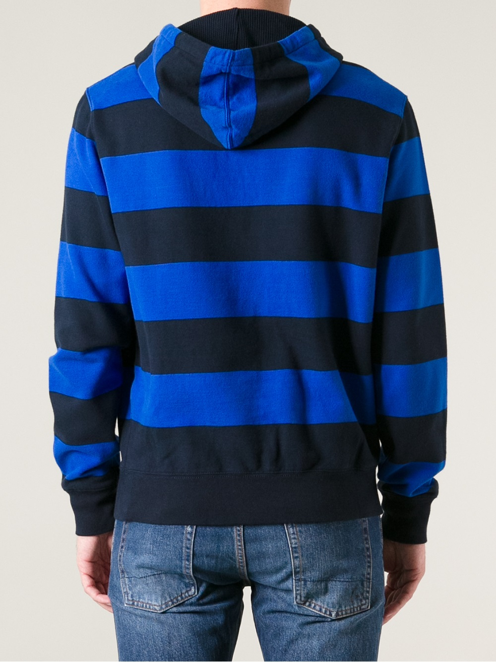 polo ralph lauren striped hoodie in blue for men lyst. Black Bedroom Furniture Sets. Home Design Ideas