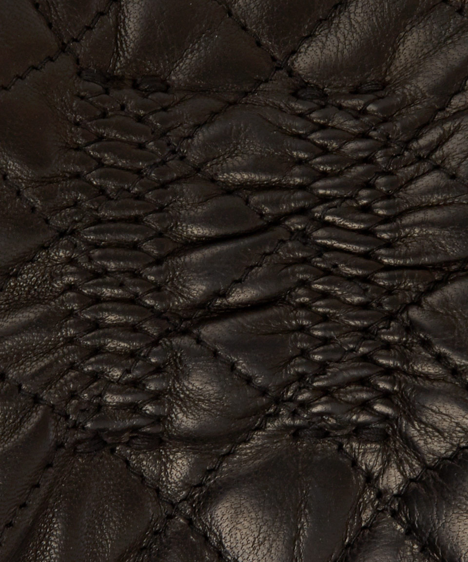 Black leather quilted gloves with cashmere lining - Gallery Women S Leather Gloves