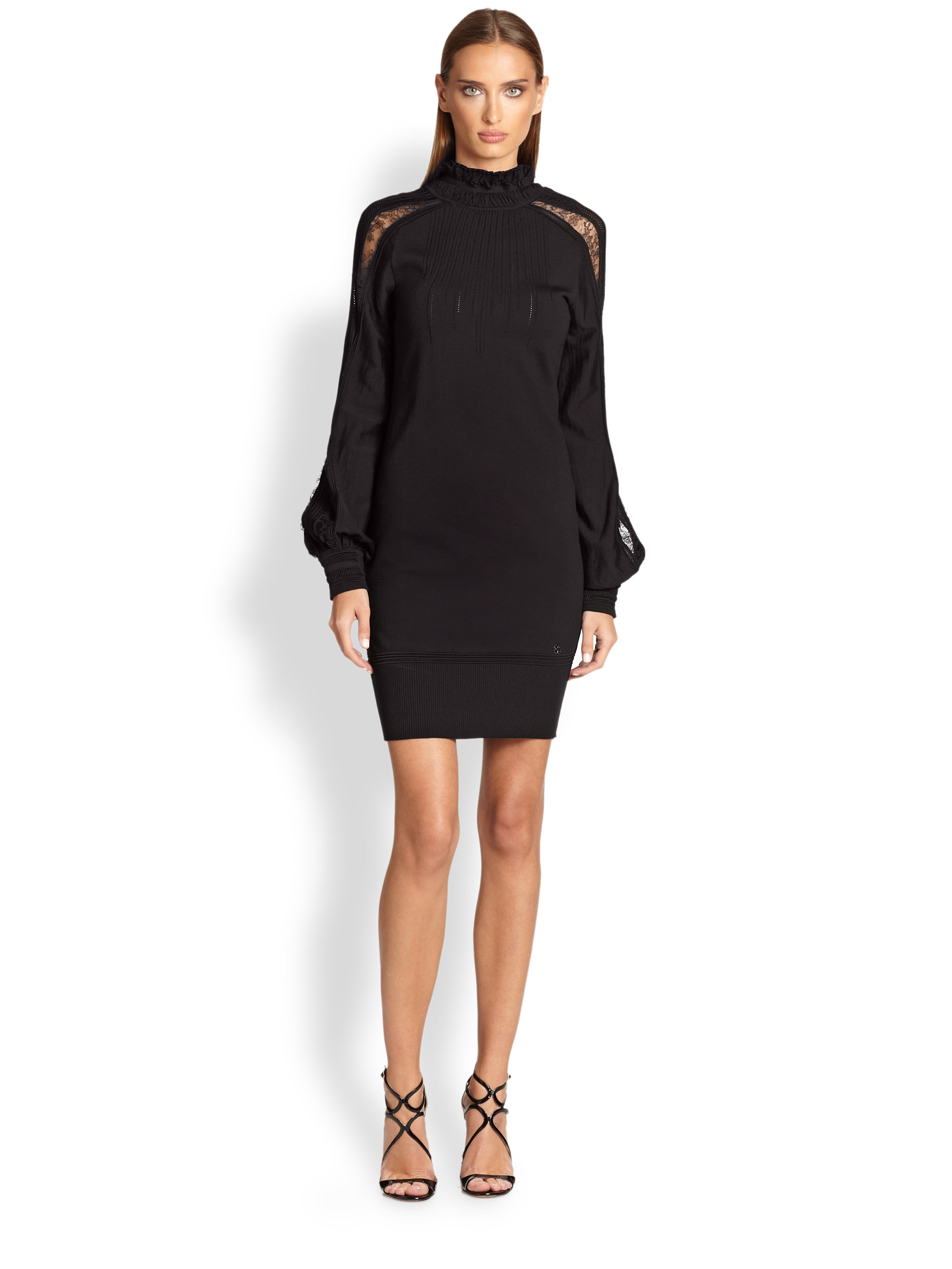 Lyst Roberto Cavalli Knit Balloon Sleeve Dress In Black