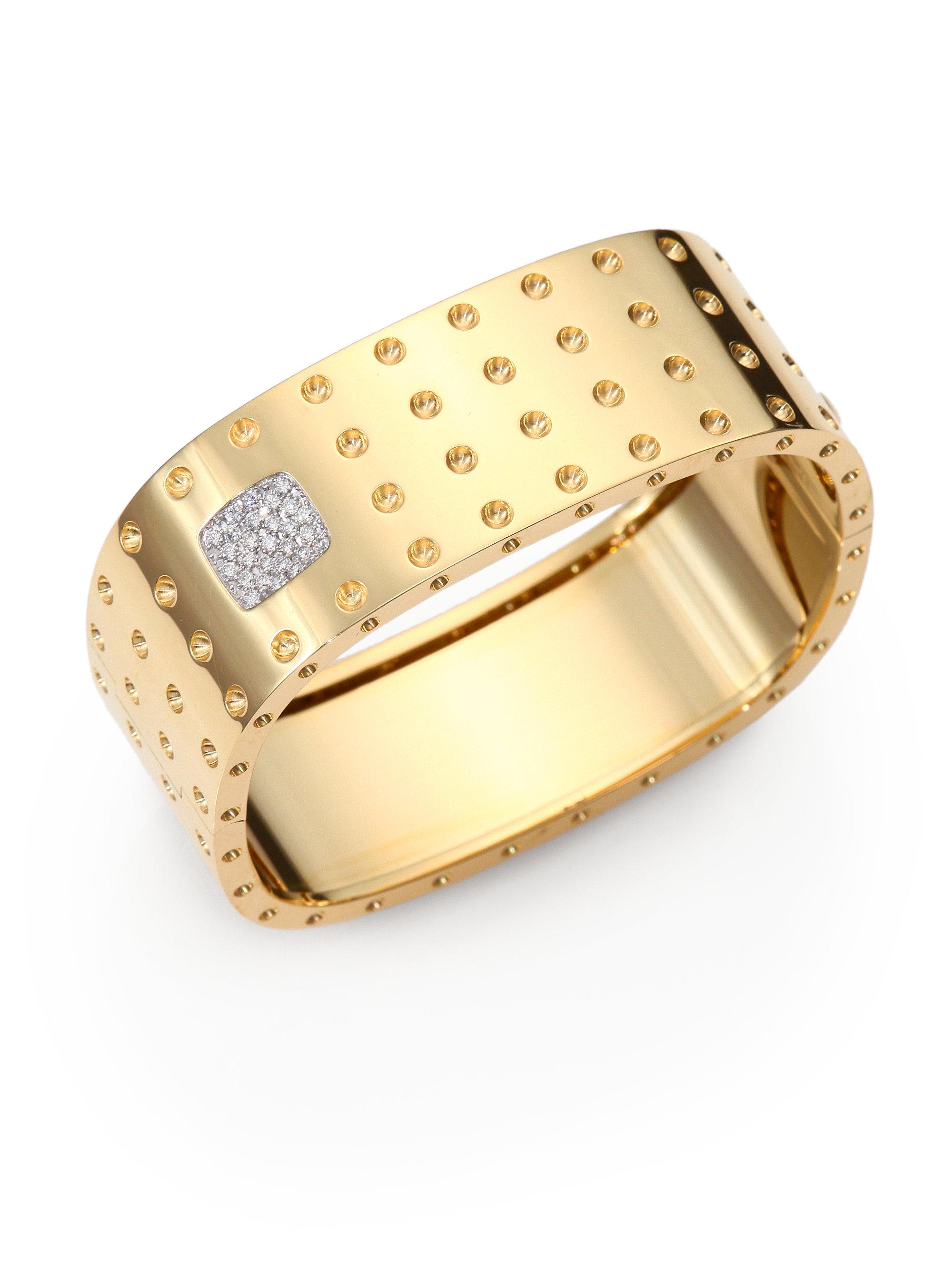 roberto coin diamond 18k gold fourrow bangle bracelet in. Black Bedroom Furniture Sets. Home Design Ideas