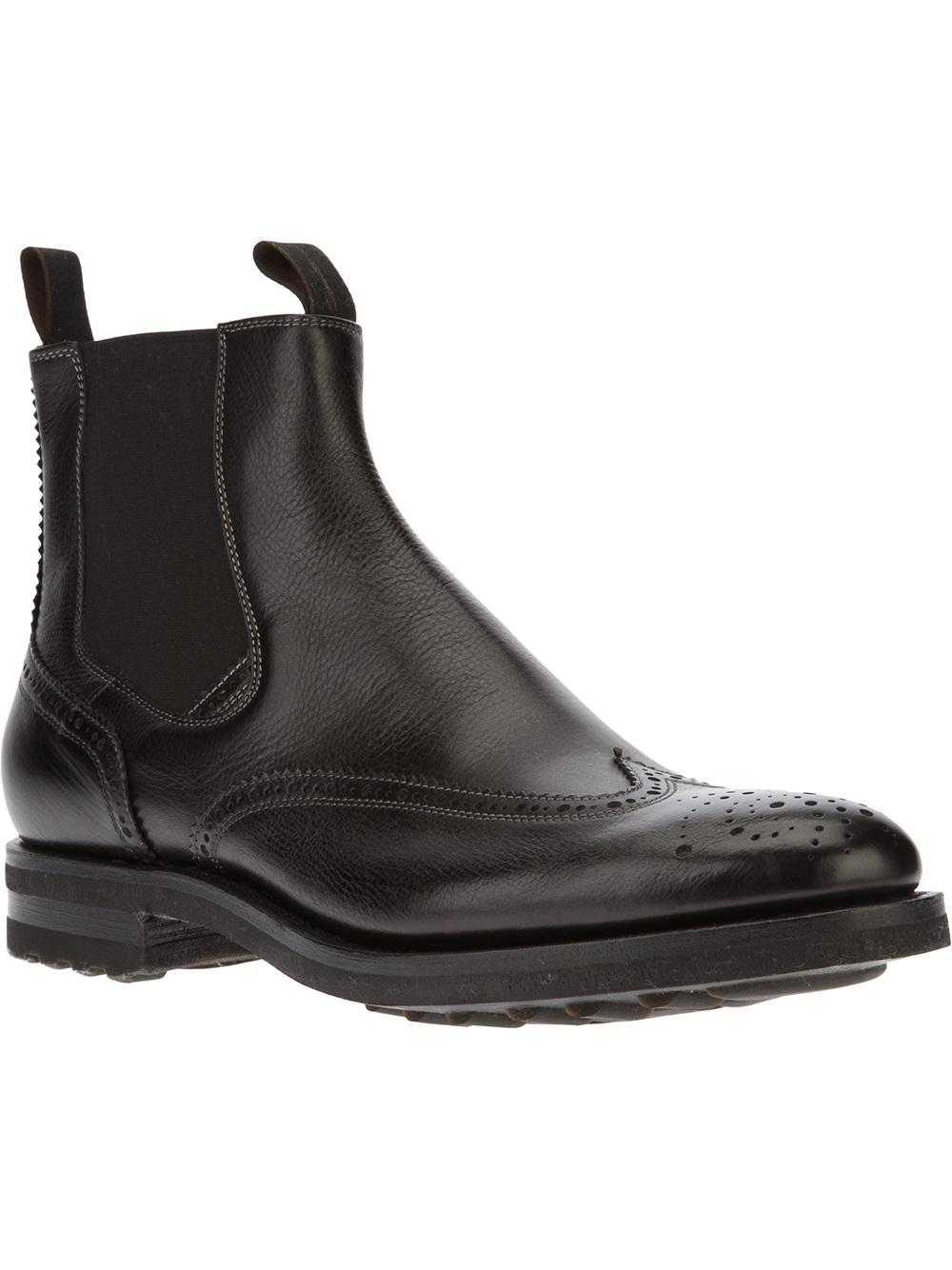 santoni brogue chelsea boot in black for men lyst. Black Bedroom Furniture Sets. Home Design Ideas