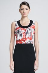 St. John Collection Sleeveless Floral Blouse Hibiscusoyster - Lyst
