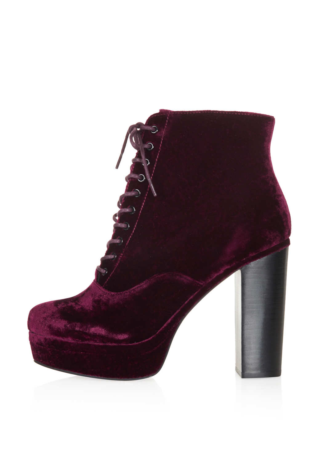 topshop alpy velvet lace up boots in purple lyst