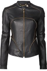 Versace Zip Trim Leather Jacket - Lyst