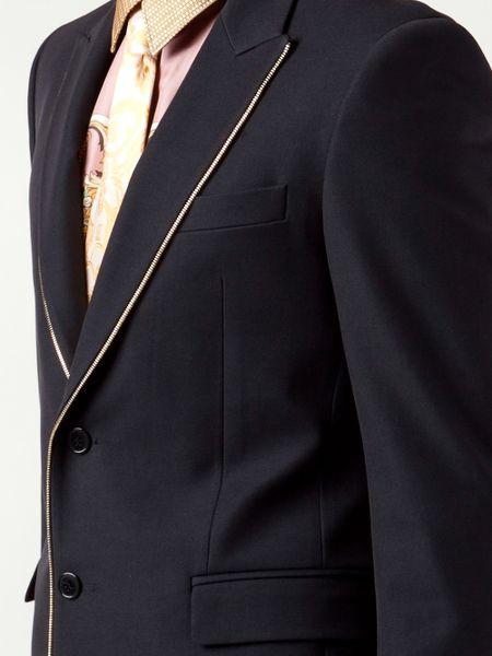 Versace Zip Trim Blazer In Blue For Men Lyst