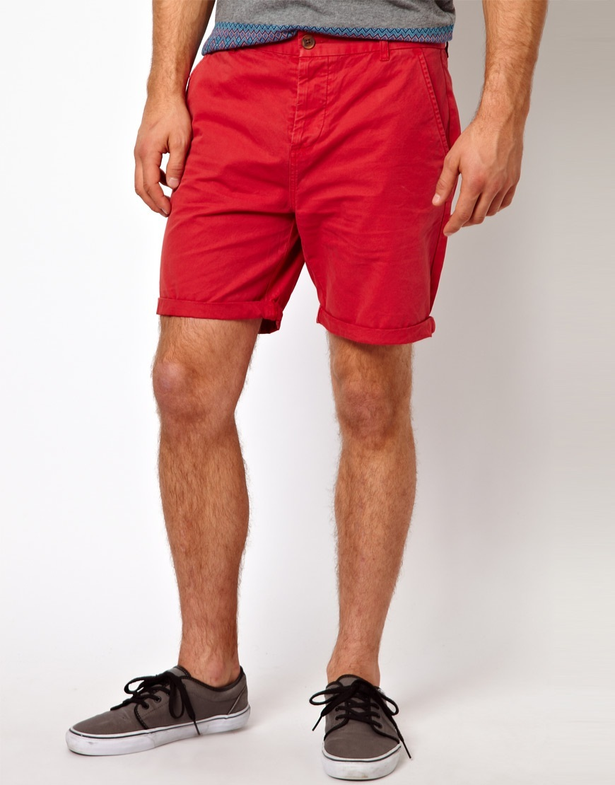 Asos Chino Shorts in Red for Men | Lyst