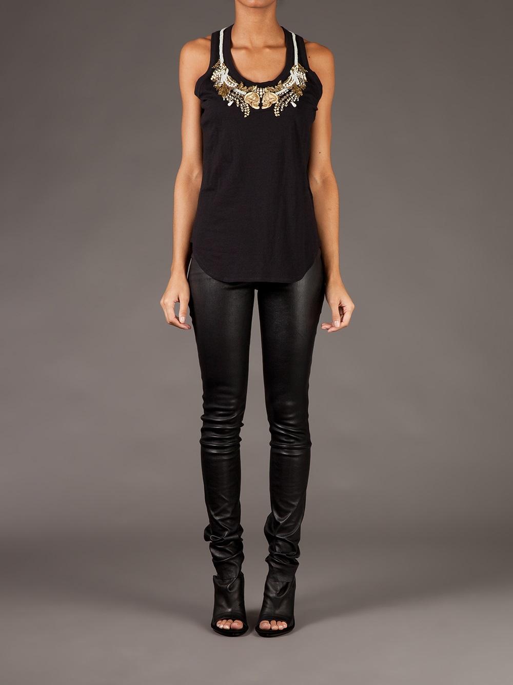 3ff78adb56cf0 Lyst - Alexander McQueen Embellished Vest Top in Black