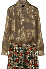 Anna Sui Metallic Chiffonjacquard And Burnout Velvet Dress - Lyst