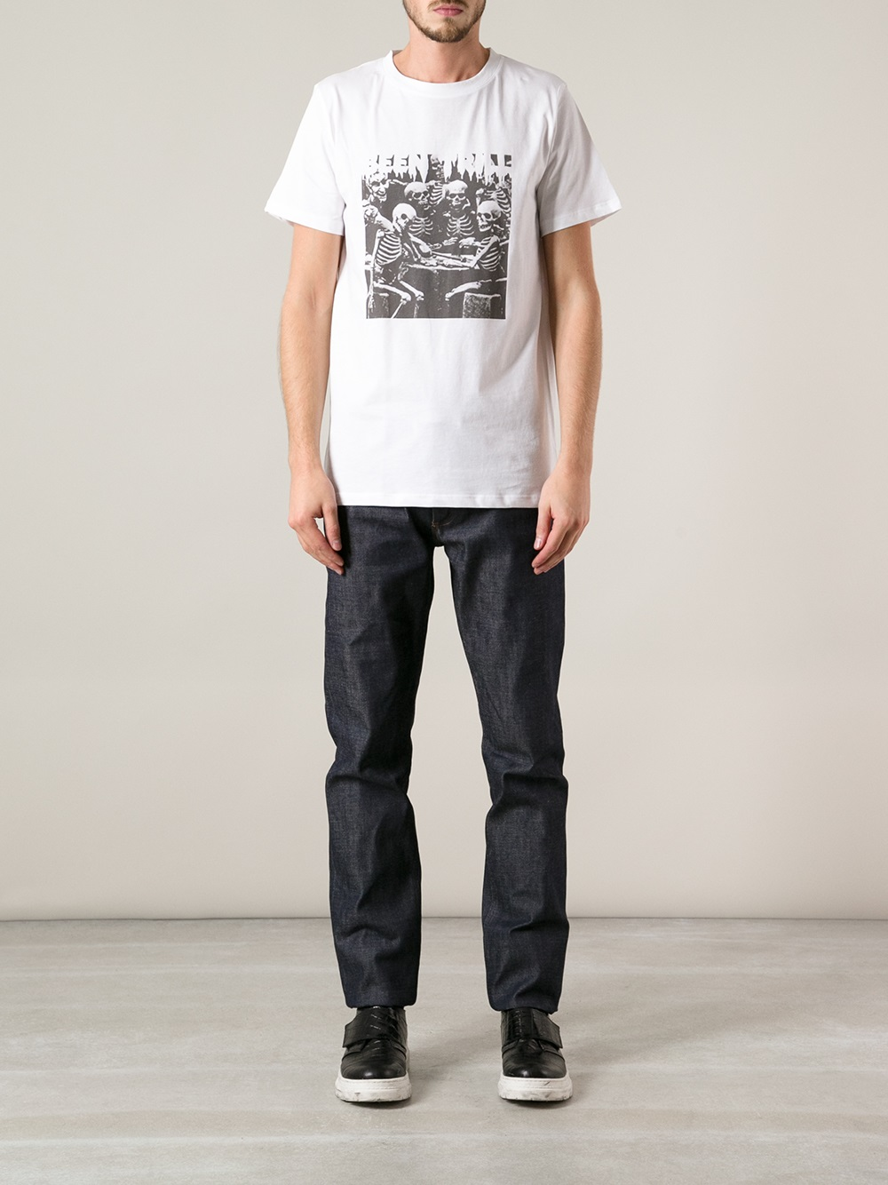 A p c trippy symphony t shirt in white for men lyst for Apc white t shirt