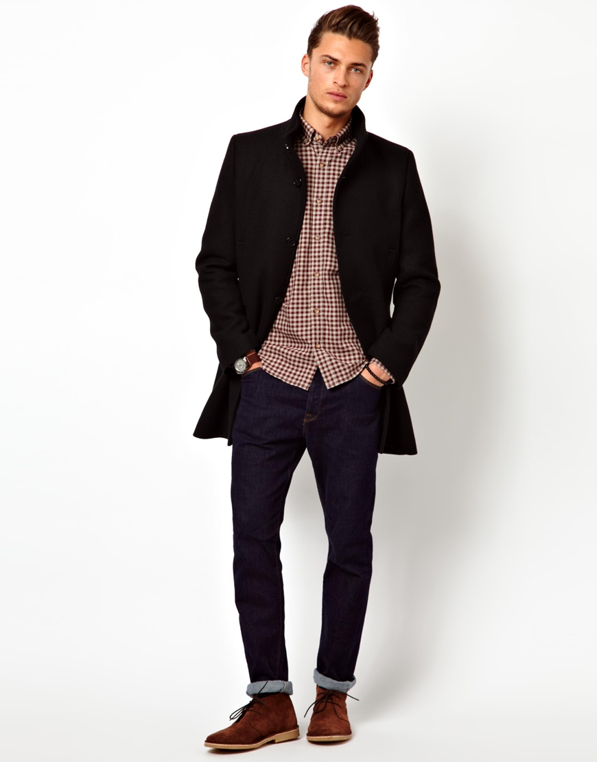 Asos Selected Wool Trench Coat in Black for Men | Lyst