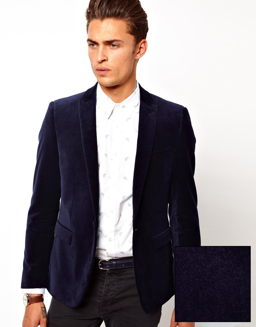 Asos Slim Fit Blazer in Velvet in Blue for Men | Lyst