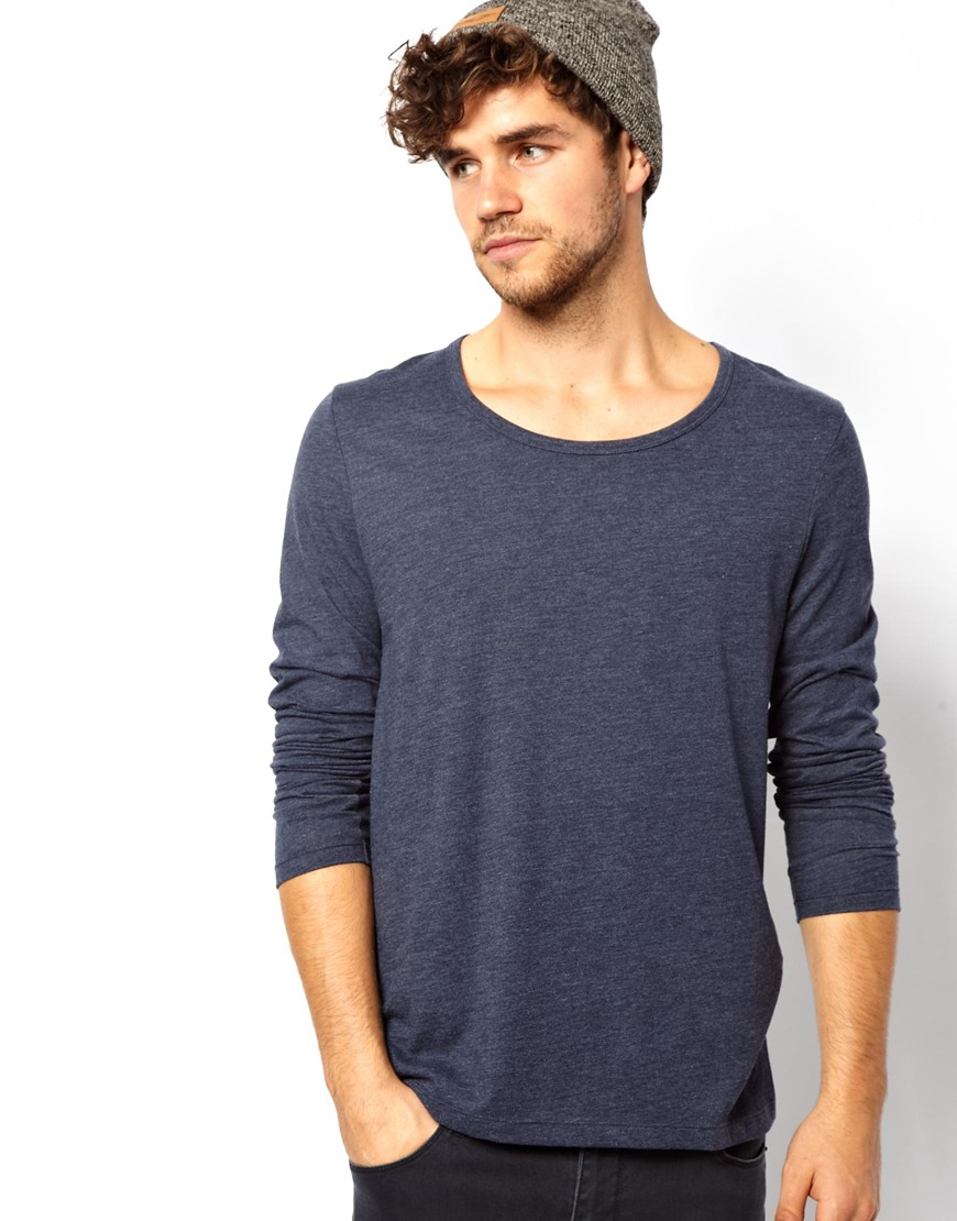 asos long sleeve t shirt with bound scoop neck in blue for