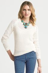 Banana Republic Open Stitch Pullover Cream - Lyst