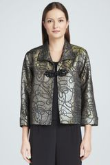 Caroline Rose Iridescent Jacquard Jacket with Frog Closure - Lyst