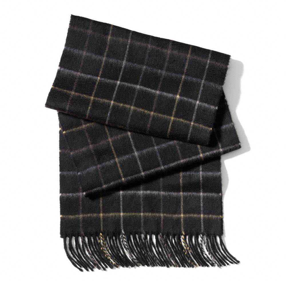 Coach Cashmere Tattersall Scarf In Black For Men Lyst