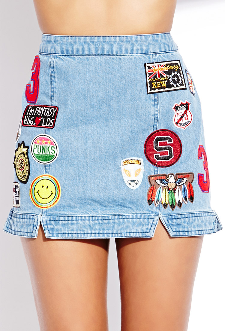 Forever 21 Throwback Patches Denim Skirt in Blue   Lyst