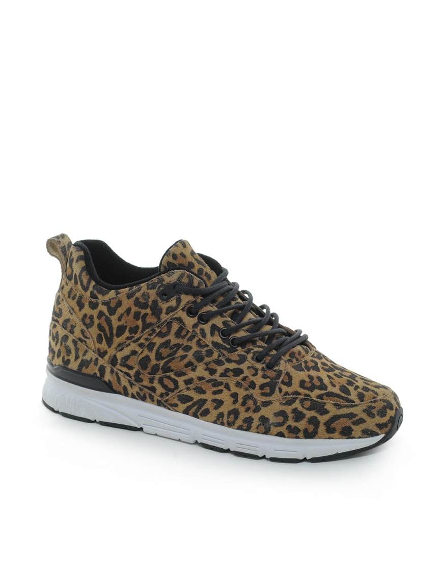 asos gourmet the 35 leopard sneakers in brown for lyst