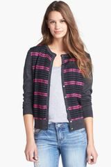 Halogen Print Double Layered Cardigan - Lyst