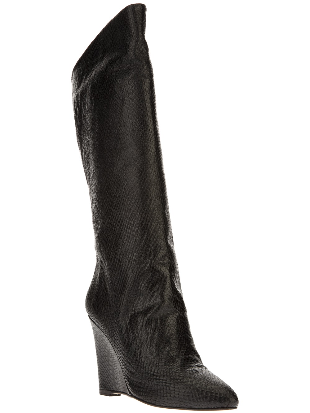particulier knee high wedge boot in black lyst