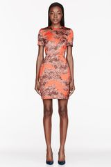 Jonathan Saunders Orange and Grey Printed Helen Dress - Lyst