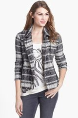 Lucky Brand Plaid Moto Sweater Cardigan - Lyst