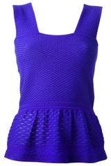 M Missoni Peplum Textured Top - Lyst