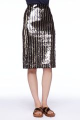 Marc Jacobs Striped Sequined Pencil Skirt - Lyst