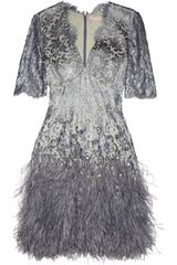 Matthew Williamson Mirror Embellished Metallic Lace Mini Dress - Lyst