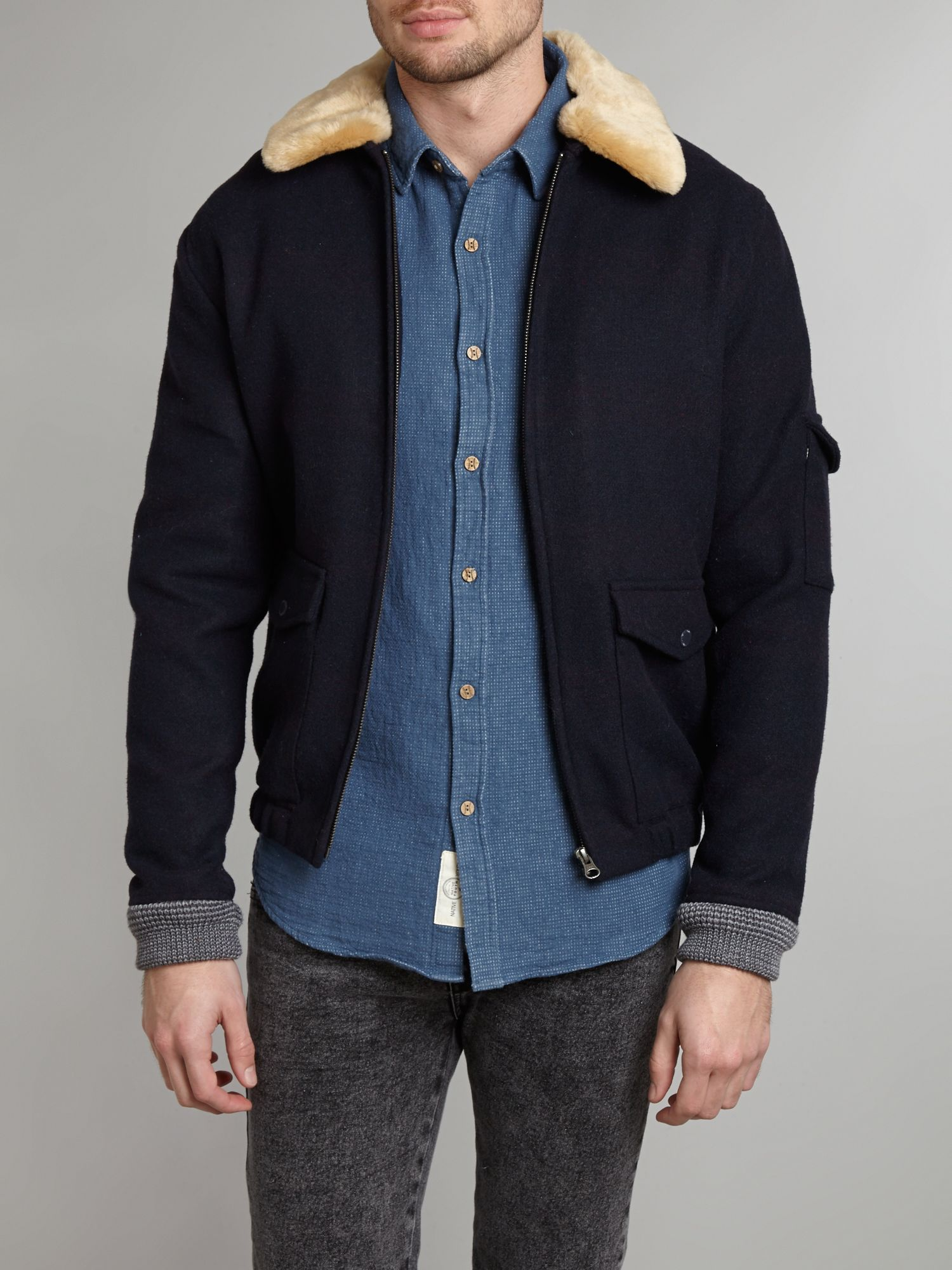 Native youth Sherpa Collar Wool Flight Jacket in Blue for Men | Lyst